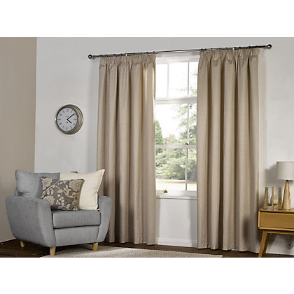 Image for Textured Thermal Pencil Pleat Curtains  - Natural 66 x 90in from StoreName