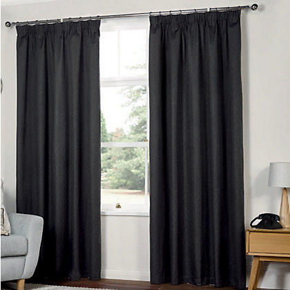 Image for Textured Thermal Pencil Pleat Curtains  - Charcoal 66 x 54in from StoreName