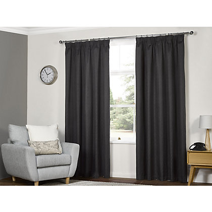 Image for Textured Thermal Pencil Pleat Curtains  - Charcoal 90 x 90in from StoreName