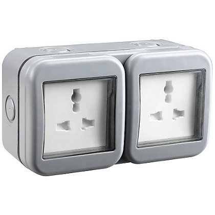 Image for Masterplug WPB24 IP55 2-Gang 13A Outdoor Unswitched Socket from StoreName