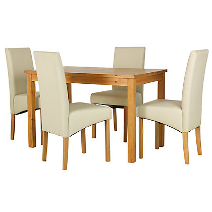 lincoln oak effect 120cm dining table and 4 cream chairs. Black Bedroom Furniture Sets. Home Design Ideas