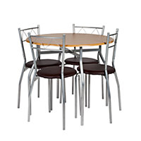 Perth Circular Dining Table and 4 Oak Effect Chairs.