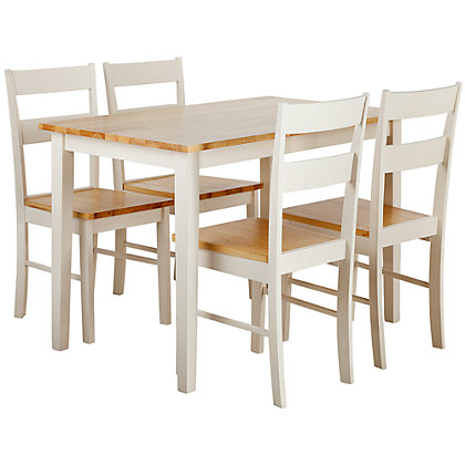 chicago dining table and 4 two tone chairs. Black Bedroom Furniture Sets. Home Design Ideas
