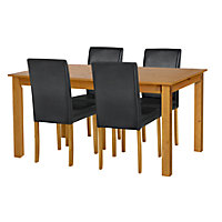 Ashdon Oak Effect 120cm Table and 4 Black Midback Chairs.