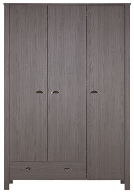 Marlow 3 Door 1 Drawer Wardrobe - Dark Oak Effect.