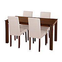 Ashdon Walnut Effect 120cm Table and 4 Cream Midback Chairs.
