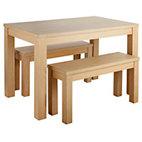 Siena Wood Effect 120cm Dining Table and 2 Benches.