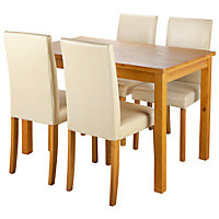 Ashdon Oak Effect 120cm Table and 4 Cream Midback Chairs.