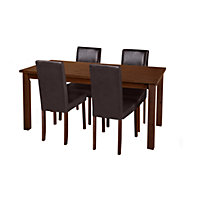 Ashdon Walnut Effect 120cm Table and 4 Chocolate Chairs.