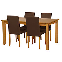 Ashdon Oak Effect 120cm Table and 4 Chocolate Midback Chairs