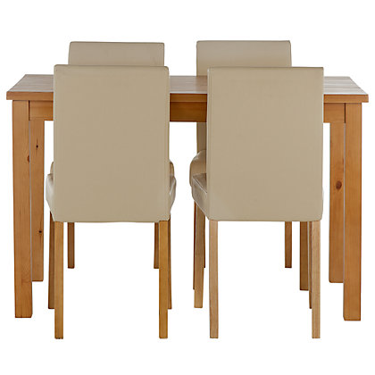 Stanford oak effect 120cm dining table and 4 cream chairs for 120cm dining table with 4 chairs
