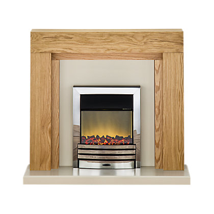 Image for Adam Montana Electric Fireplace Suite - Oak & Cream from StoreName