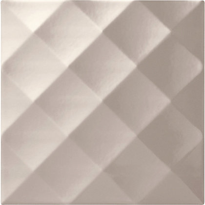 Image for Studio Conran Ridge Glazed Ceramic Wall Tile Putty Gloss - 198 x 198mm - 25 pack from StoreName