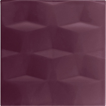 Image for Studio Conran Facet Glazed Ceramic Wall Tile Plum Gloss - 198 x 198mm - 25 pack from StoreName