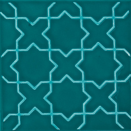 Image for V&A Souk Glazed Ceramic Decor Wall Tile Teal Gloss - 152 x 152mm - 6 pack from StoreName