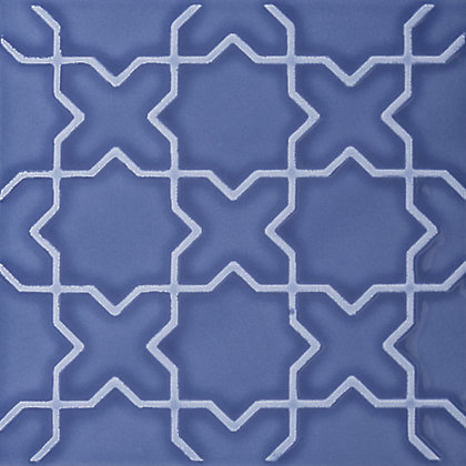 Image for V&A Souk Glazed Ceramic Decor Wall Tile Blue Gloss - 152 x 152mm - 6 pack from StoreName