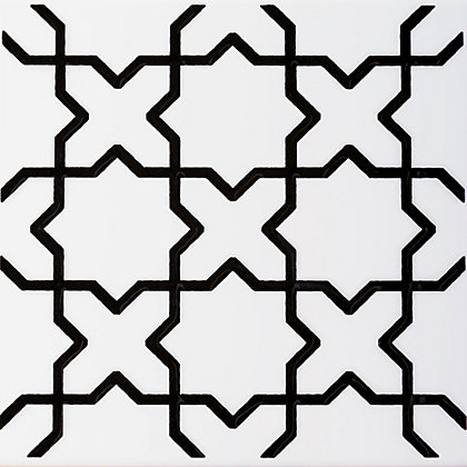 Image for V&A Souk Black & White Glazed Ceramic Wall Tile 6 pack from StoreName