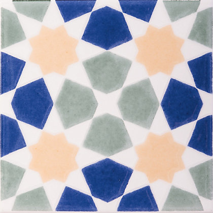 Image for V&A Omar Multicolour Glazed Ceramic Wall Tile 6 pack from StoreName