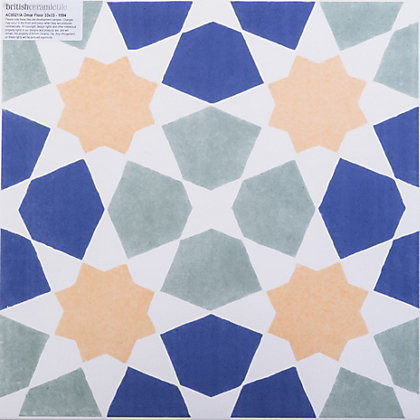 Image for V&A Omar Glazed Ceramic Floor & Wall Tile Multicolour Gloss 331 x 331mm - 9 pack from StoreName