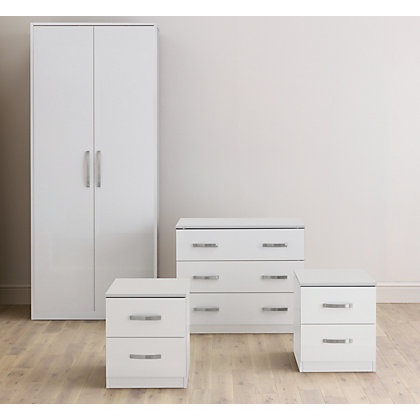 Image for Hygena 4 Piece Bedroom Furniture Package - White & White Gloss from StoreName