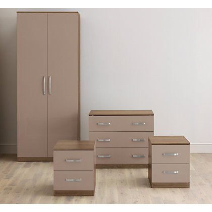 Image for Hygena 4 Piece Bedroom Furniture Package - Oak & Mocha Gloss from StoreName