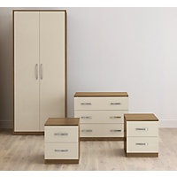Hygena Oak & Cream Gloss Double Room Set Packages