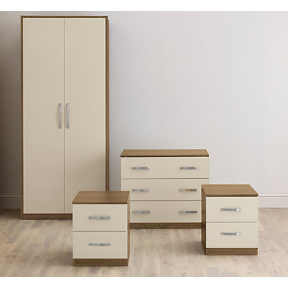 Image for Hygena 4 Piece Bedroom Furniture Package - Oak & Cream Gloss from StoreName