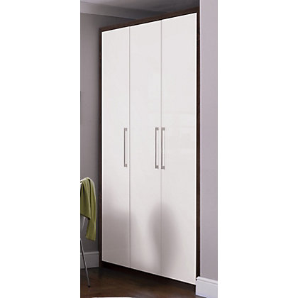 Image for Hygena 3 Door Wardrobe - Walnut & White Gloss from StoreName