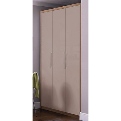 Image for Hygena 3 Door Wardrobe - Oak & Mocha Gloss from StoreName