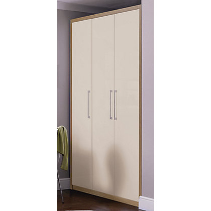 Image for Hygena 3 Door Wardrobe - Oak & Cream Gloss from StoreName