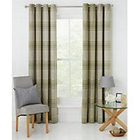 Heart of House Angus Eyelet Curtains 168 x 183cm- Soft Green