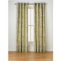 Heart of House Felicity Lined Eyelet Curtains - Green.