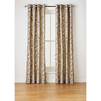 Heart of House Felicity Lined Eyelet Curtains - Natural.