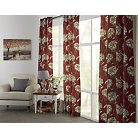 Heart of House Felicity Lined Eyelet Curtains - Red.