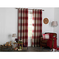 Heart of House Angus Eyelet Curtains 117 x 137cm - Red.