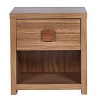 Eden 1 Drawer Small Side Table - Walnut Effect.