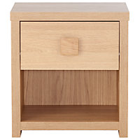 Eden 1 Drawer Small Side Table - Oak Effect.
