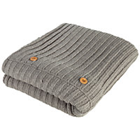 Heart of House Knitted Throw 130 x 180cm - Grey.