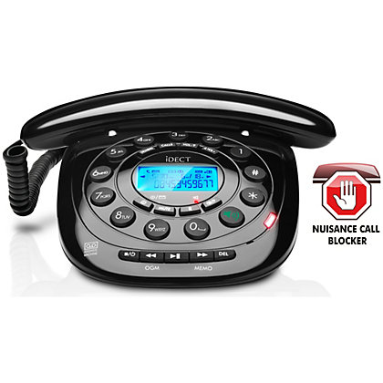 IDECT Carerra Corded Telephone With Answer Machine Single