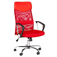 Mesh and Leather Effect Headrest Office Chair - Red.
