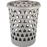 Strata Tall Round Putty Laundry Hamper