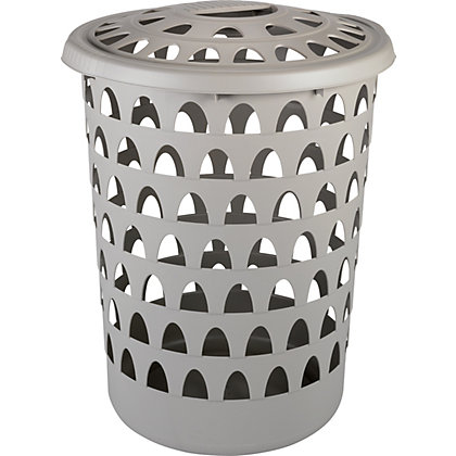 Image for Strata Tall Round Putty Laundry Hamper from StoreName