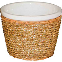Seagrass and Ceramic Planter - 16cm