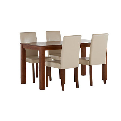 Salford walnut dining table 120cm and 4 cream chairs - Cream dining tables and chairs ...
