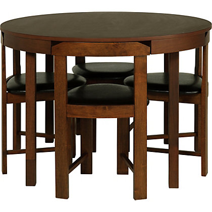 hygena alena wood stain circular dining table and 4 chairs. Black Bedroom Furniture Sets. Home Design Ideas