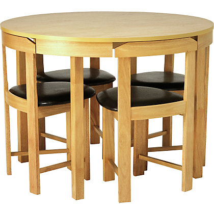 hygena alena oak circular dining table and 4 chairs. Black Bedroom Furniture Sets. Home Design Ideas