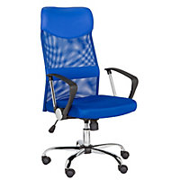 Mesh and Leather Effect Headrest Office Chair - Blue.