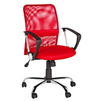 Mid-Back Gas Lift Mesh Chair - Red.
