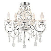 Vela 5 Light Bathroom Chandelier - Chrome