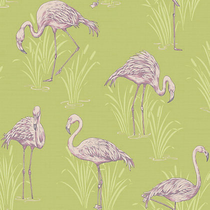 Image for Lagoon Wallpaper - Green & Pink from StoreName